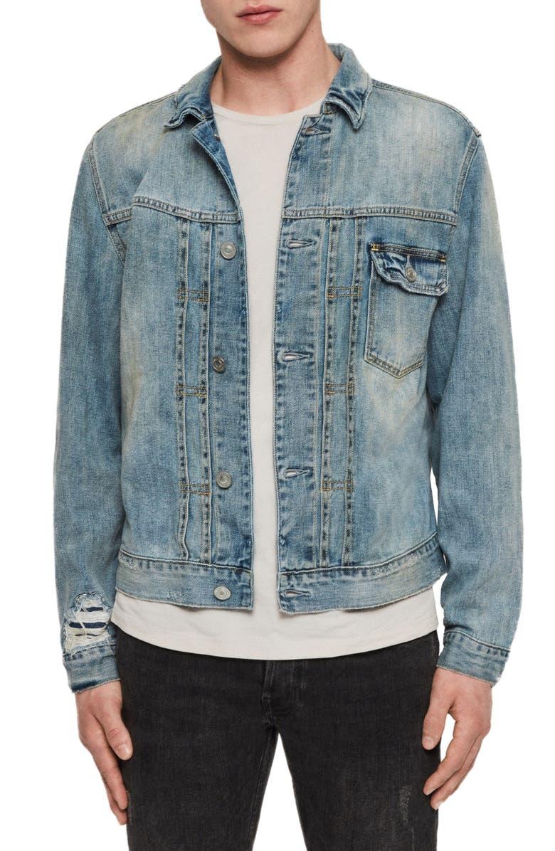 ALLSAINTS Isidro Distressed Denim Jacket, Main, color, MID INDIGO BLUE