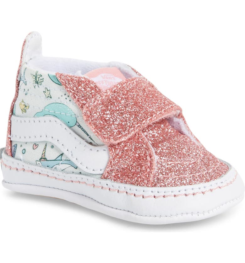 VANS Sk8-Hi Glitter Crib Shoe, Main, color, PINK ICING/ TRUE WHITE