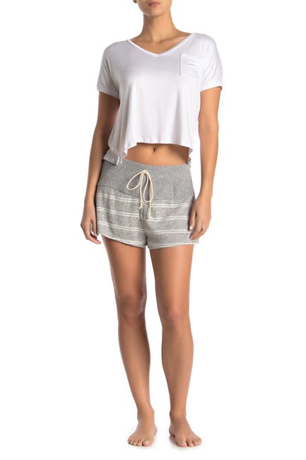 Image of Blue Moon Pink Star Brushed Stripe Contrast Waist Shorts