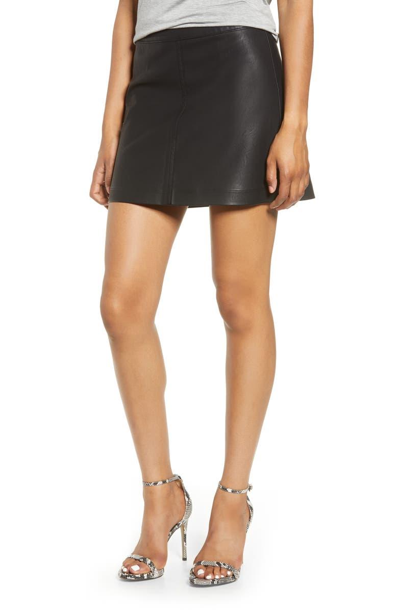BLANKNYC Faux Leather Miniskirt, Main, color, DEJA BOO