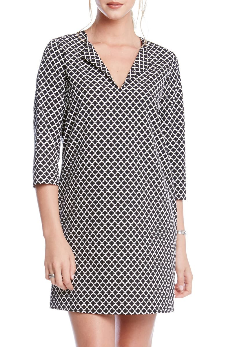 KAREN KANE Print Split Neck Shift Dress, Main, color, 005