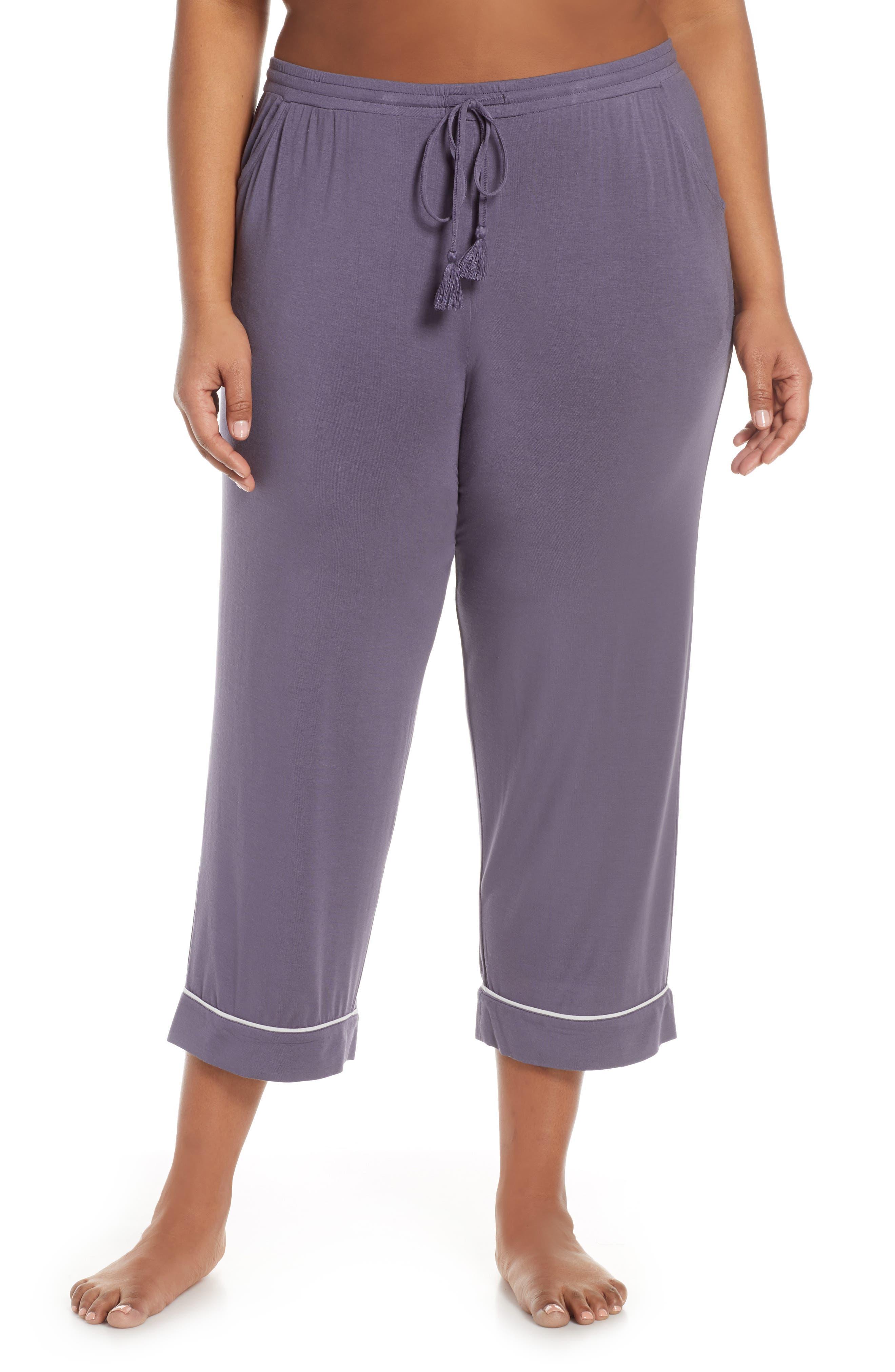 Plus Size Nordstrom Lingerie Moonlight Crop Pajama Pants, Grey