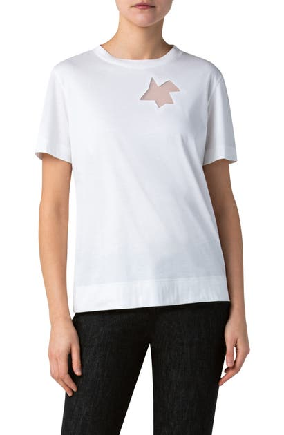 Akris SHEER INSET JERSEY T-SHIRT