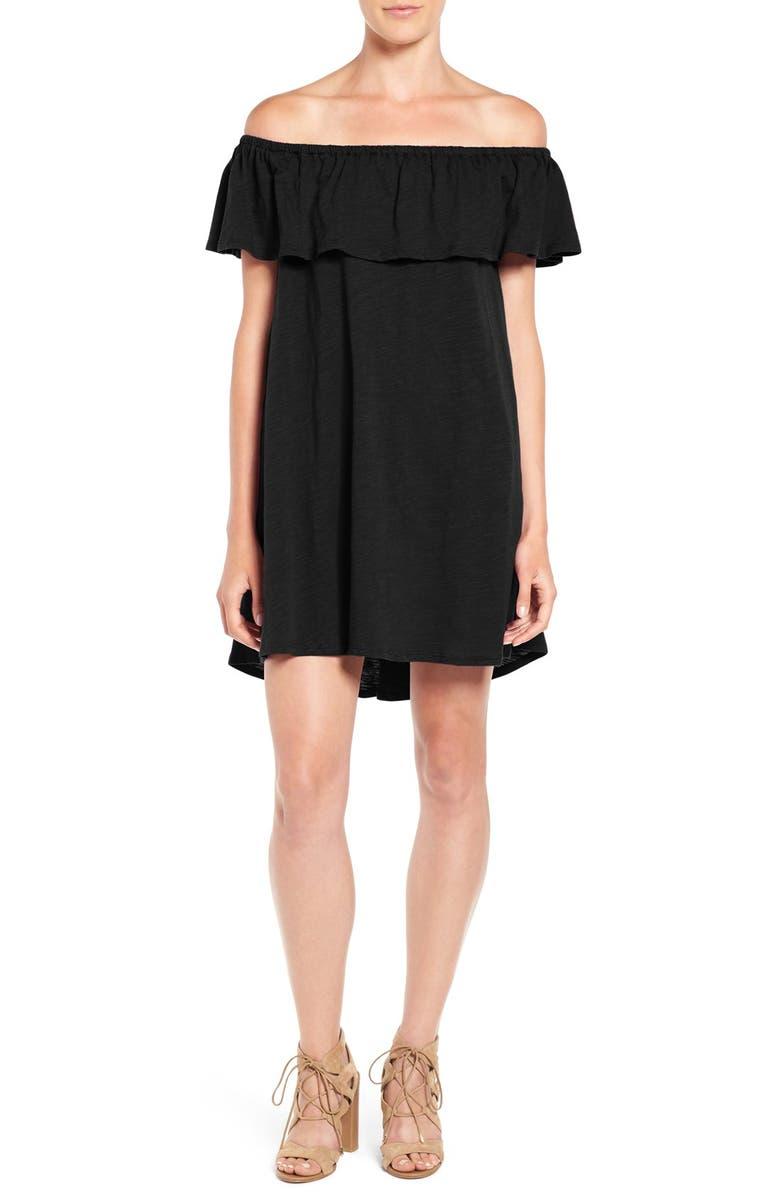 REBECCA MINKOFF 'Diosa' Cotton Off the Shoulder Dress, Main, color, 001