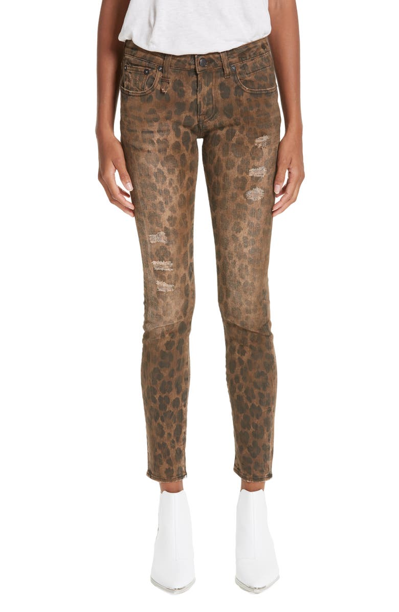 R13 Kate Skinny Jeans, Main, color, LEOPARD