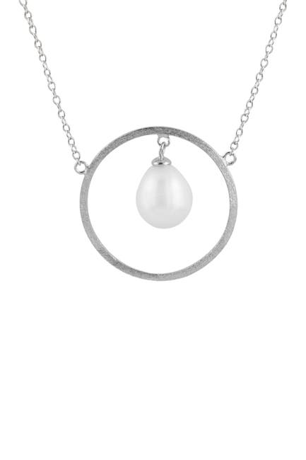 Image of Splendid Pearls White 8-8.5mm Cultured Freshwater Dangle Pearl & Cricle Pendant Necklace