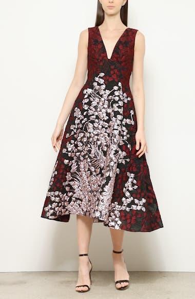Bicolor Matelassé Fit & Flare Midi Dress, video thumbnail