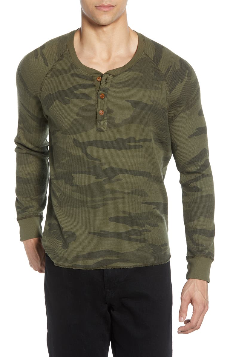 MILLS SUPPLY Salt Point Camo Waffle Knit Henley, Main, color, OLIVE BRANCH