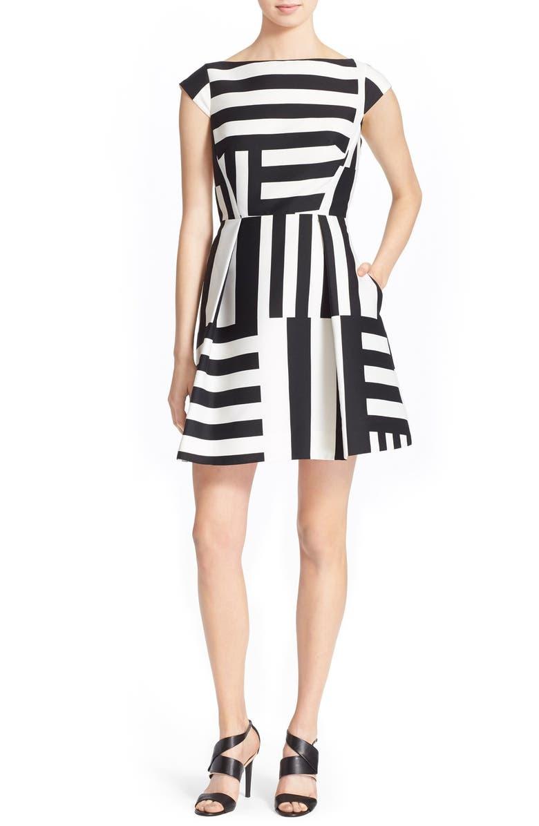 KATE SPADE NEW YORK multi stripe fit & flare dress, Main, color, 170