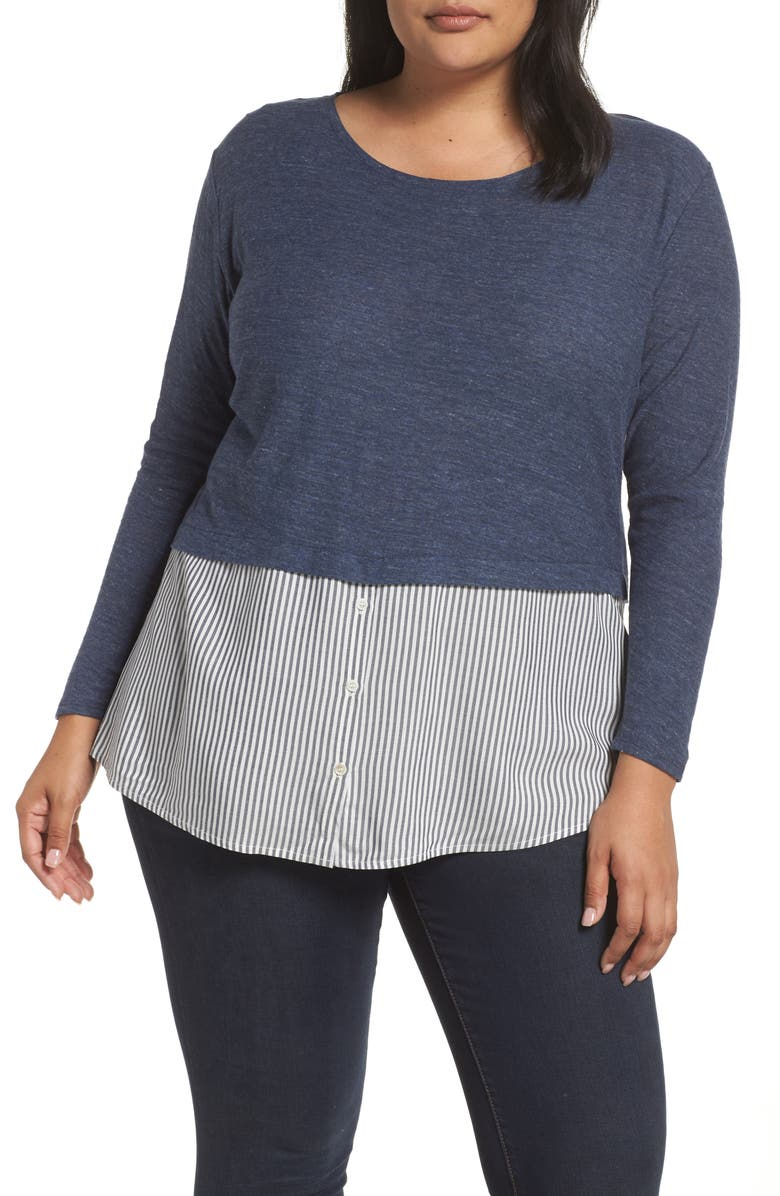 VINCE CAMUTO Stripe Hem Mixed Media Top, Main, color, INDIGO NIGHT HEATHER