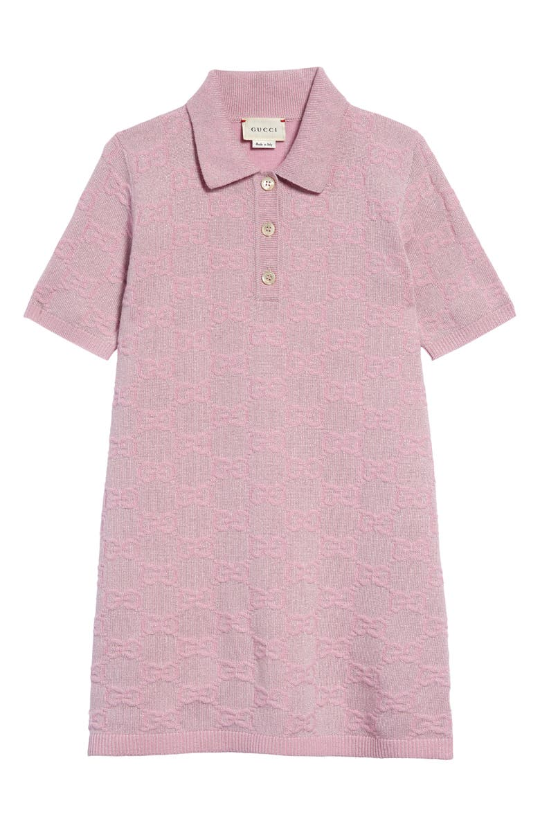 GUCCI Metallic Logo Wool Blend Polo Dress, Main, color, PINK MULTICOLOR