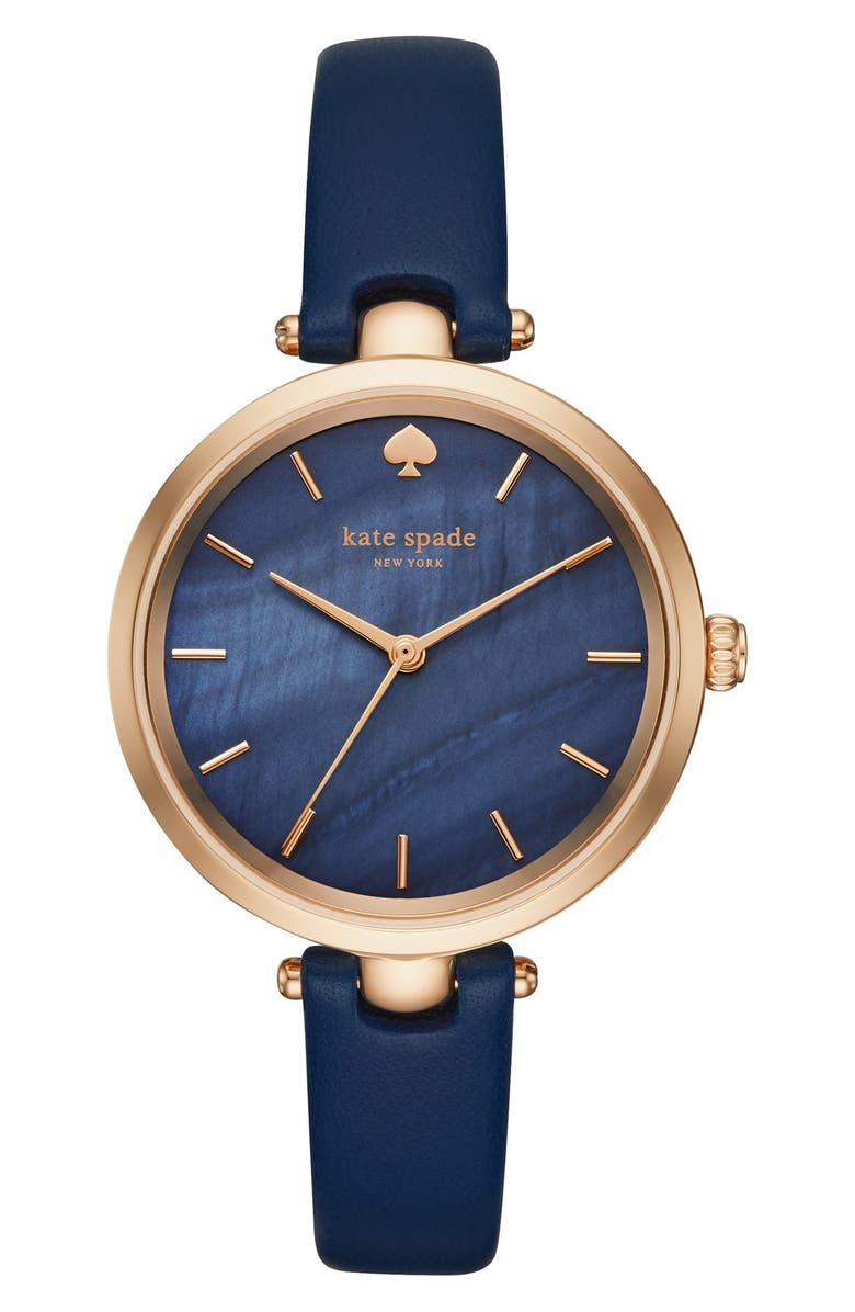 KATE SPADE NEW YORK 'holland' round leather strap watch, 34mm, Main, color, BLUE/ MOTHER OF PEARL