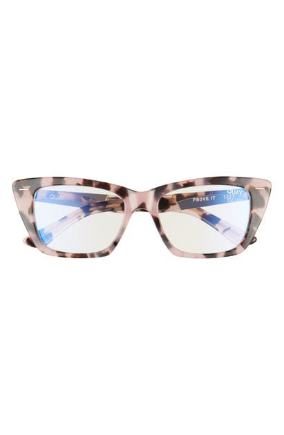 Quay Prove It 52mm Cat Eye Blue Light Blocking Glasses In Milky Tortoise/ Clear