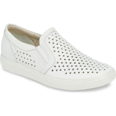 Ecco Soft 7 Laser Cut Slip-On Sneaker, White