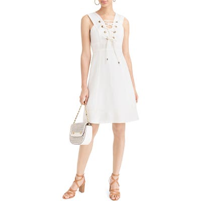 J.crew Lace-Up Structured Linen Dress, Ivory