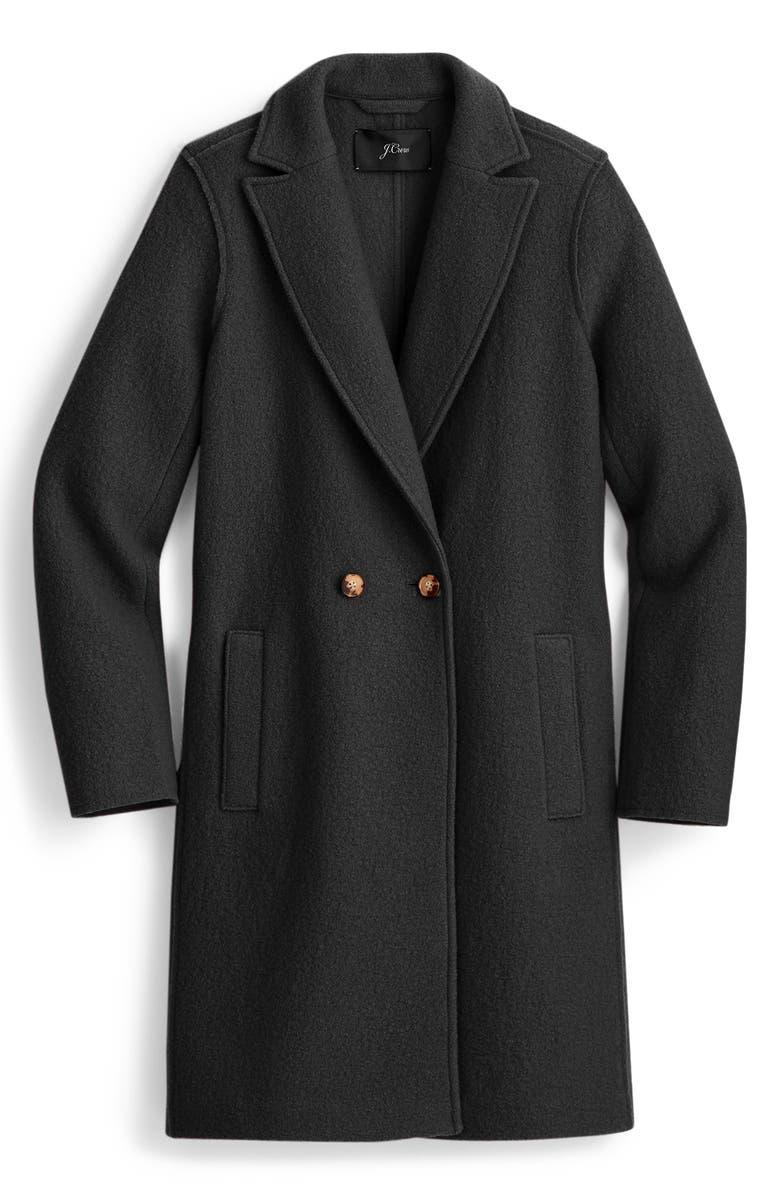 J.CREW Daphne Boiled Wool Topcoat, Main, color, BLACK