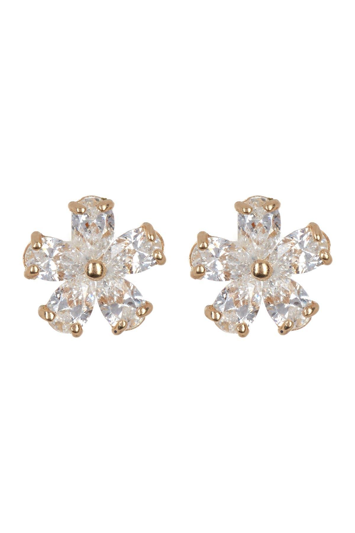 Image of Candela 14K Yellow Gold Swarovski CZ Flower Stud Earrings