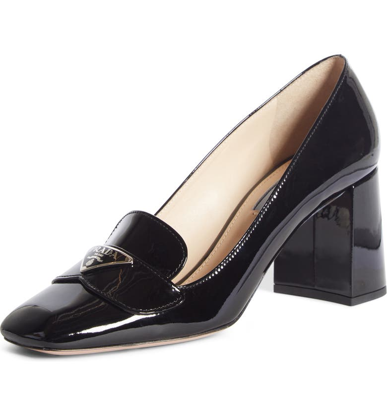 PRADA Logo Plaque Square Toe Loafer Pump, Main, color, BLACK
