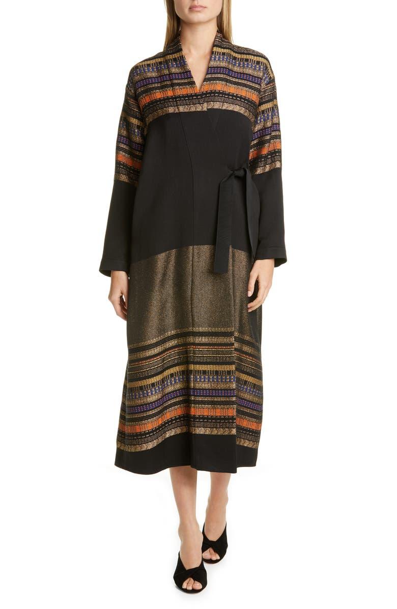 ZERO + MARIA CORNEJO Tasmeen Metallic Jacquard Wrap Coat, Main, color, 001