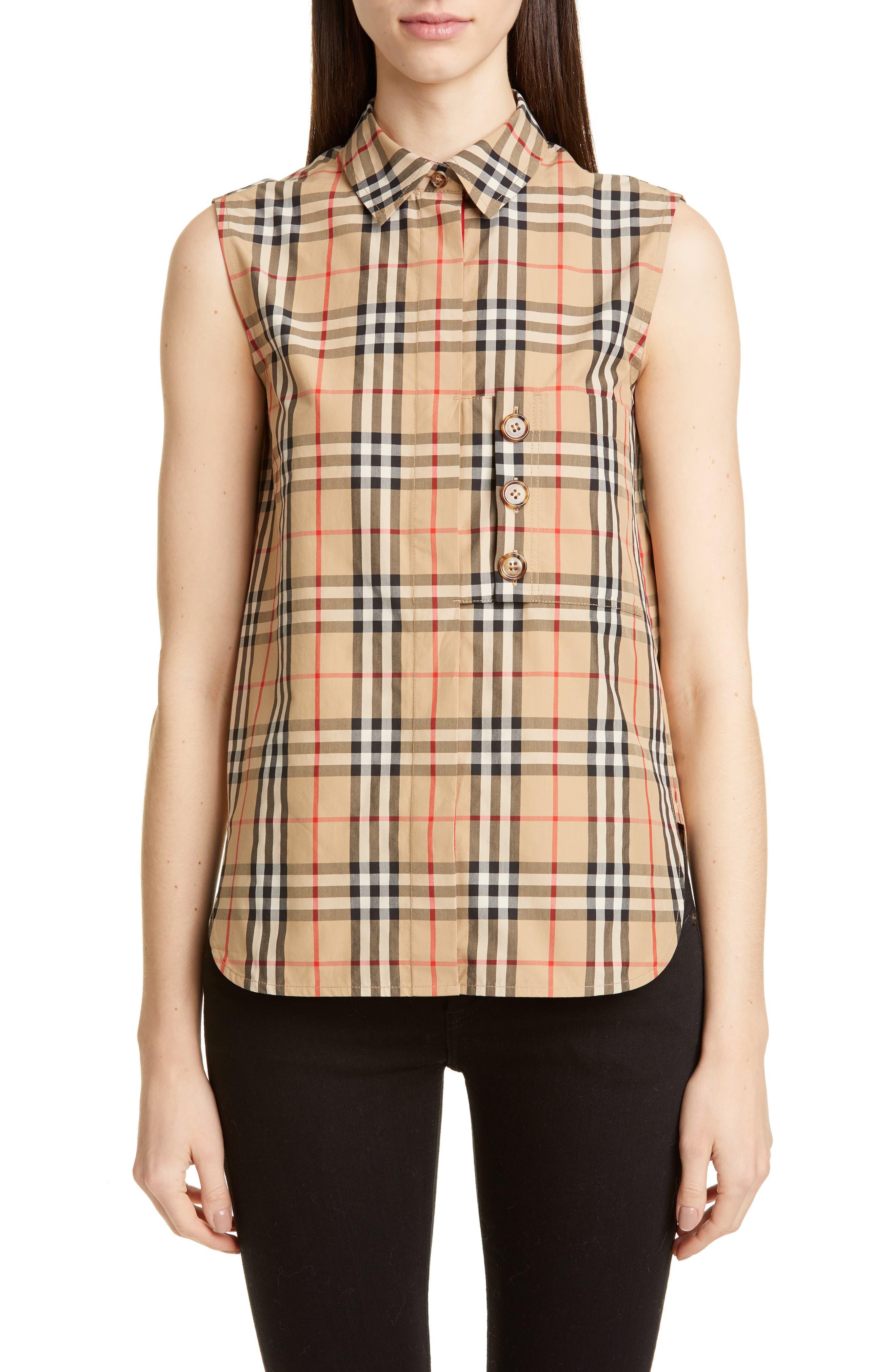 Burberry Palila Check Sleeveless Shirt, Beige