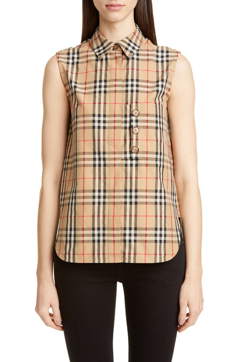 BURBERRY Palila Check Sleeveless Shirt, Main, color, 250