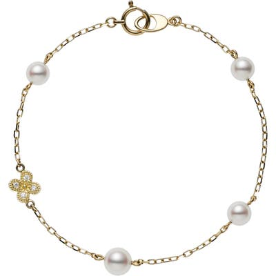 Mikimoto Diamond Clover & Pearl Charm Bracelet