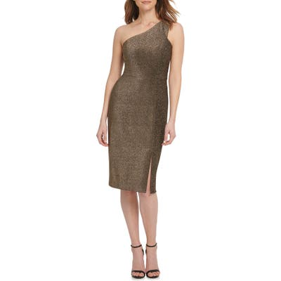 Vince Camuto One-Shoulder Metallic Knit Body-Con Dress, Brown