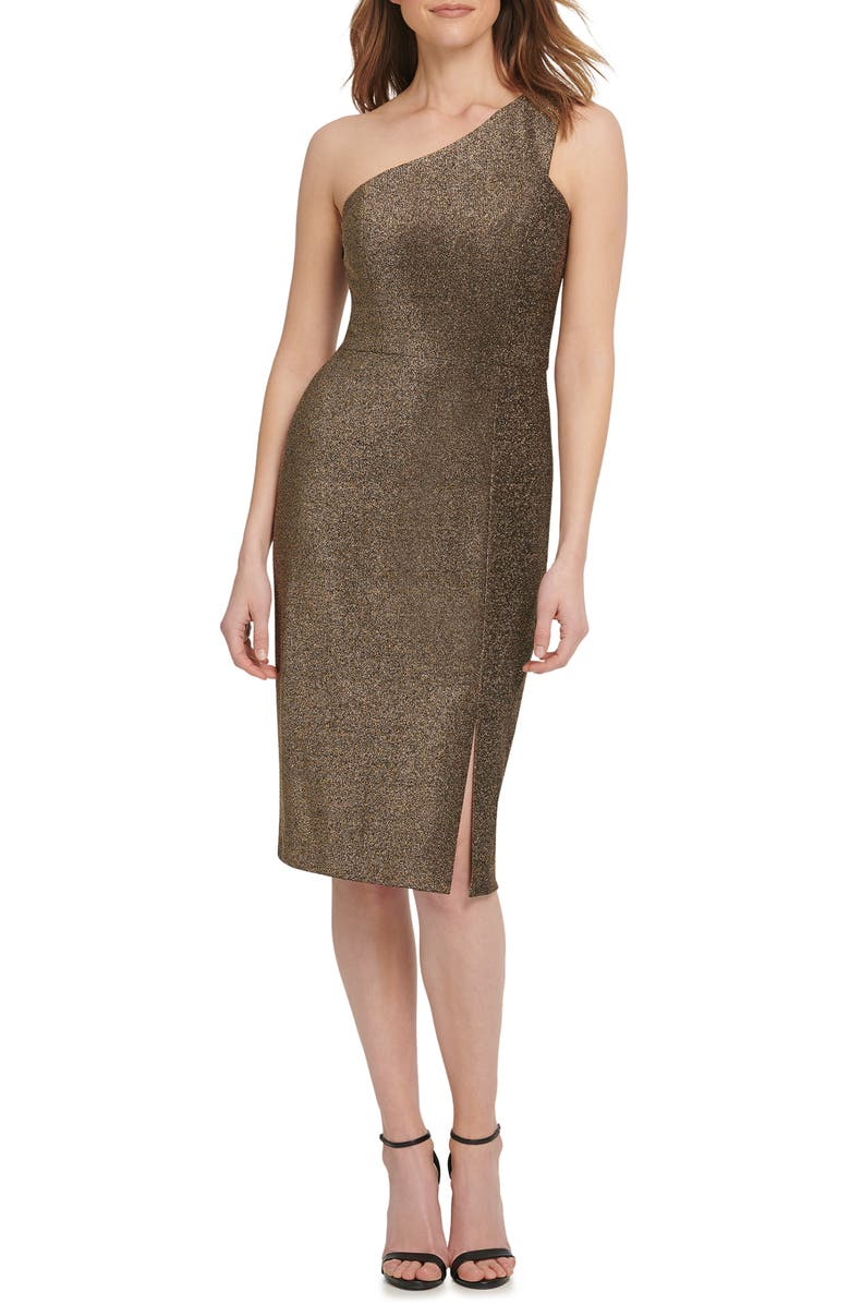 VINCE CAMUTO One-Shoulder Metallic Knit Body-Con Dress, Main, color, BGD