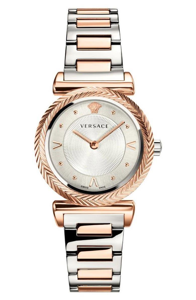 VERSACE V Motif Bracelet Watch, 35mm, Main, color, SILVER/ ROSE GOLD