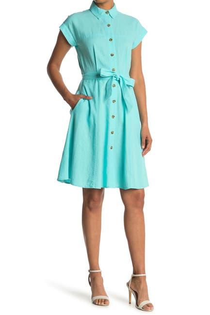 Image of Calvin Klein Linen Blend Shirt Dress