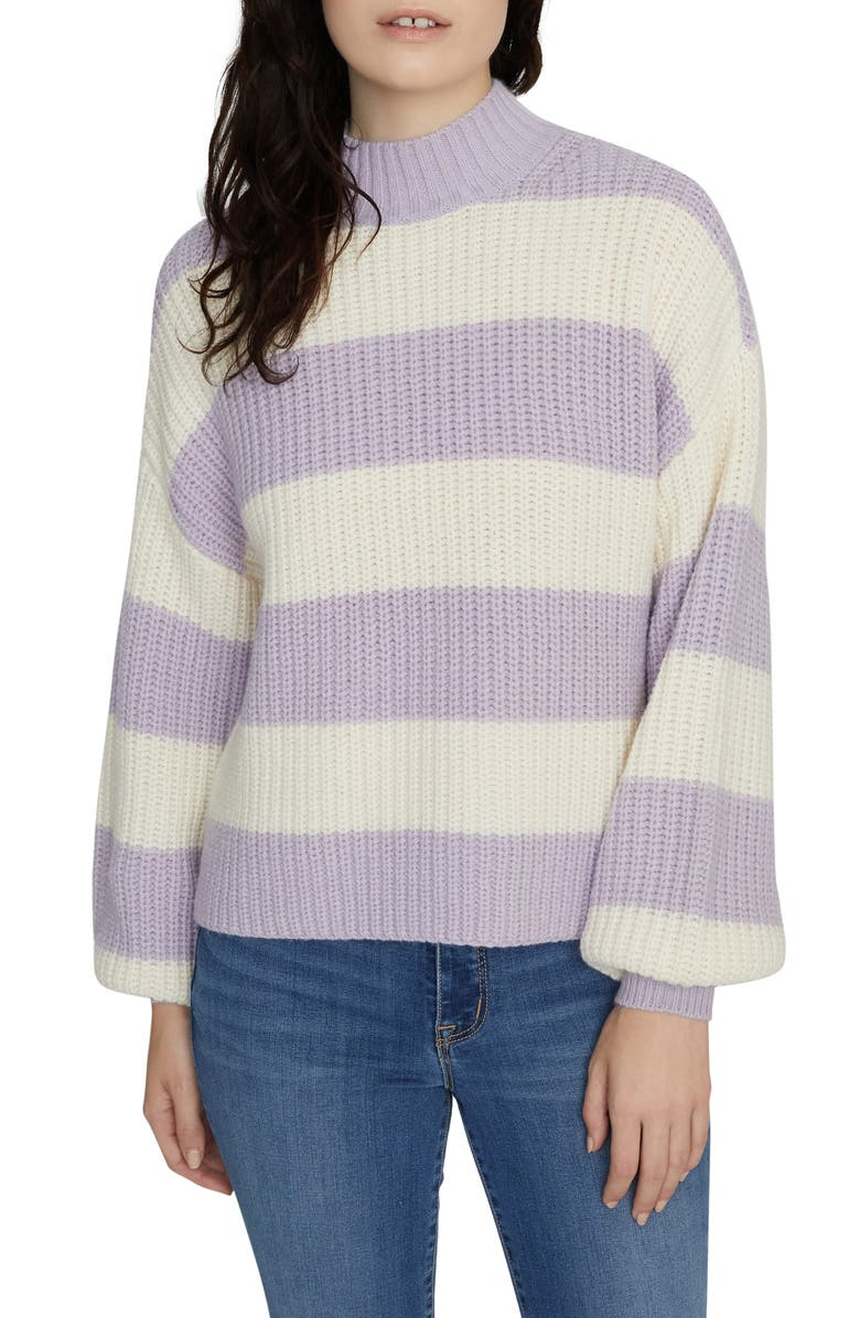 SANCTUARY Sweet Tooth Stripe Sweater, Main, color, LILAC SNOW/ MOONSTONE STRIPE