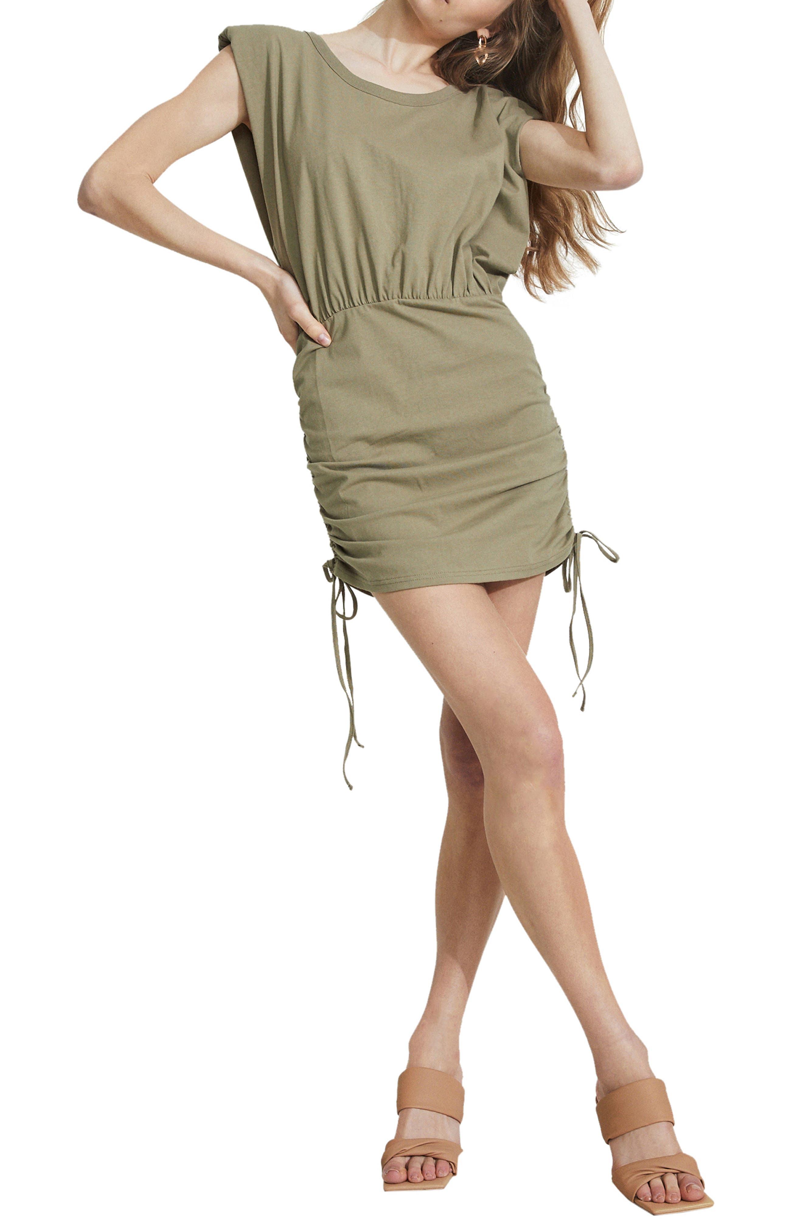 Toni Shoulder Pad Cotton Minidress