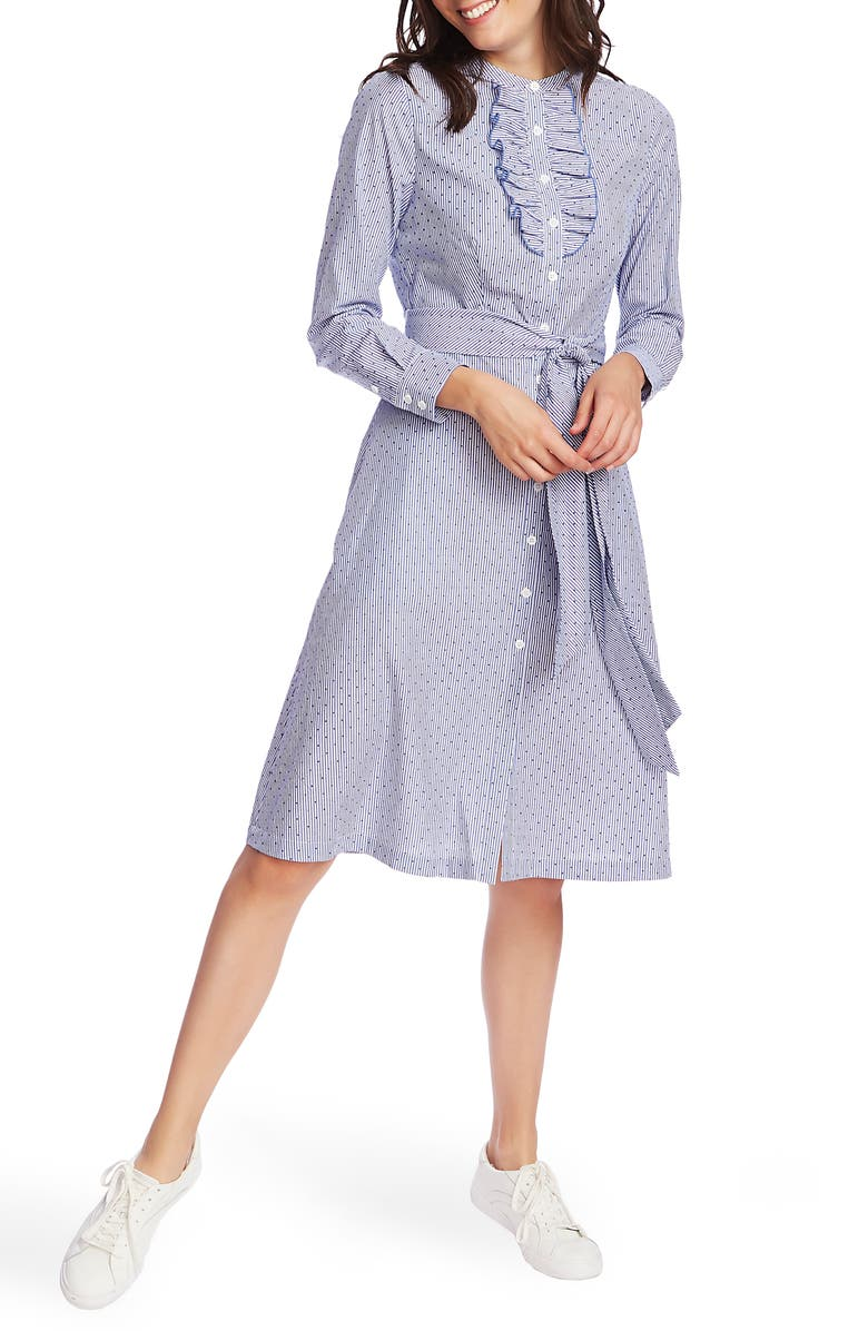 COURT & ROWE Ruffle Placket Flocked Dot Pinstripe Long Sleeve Cotton Shirtdress, Main, color, 481