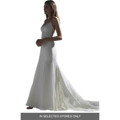 Watters Indra Lace Back Silk Trumpet Wedding Dress, Size IN STORE ONLY - Ivory