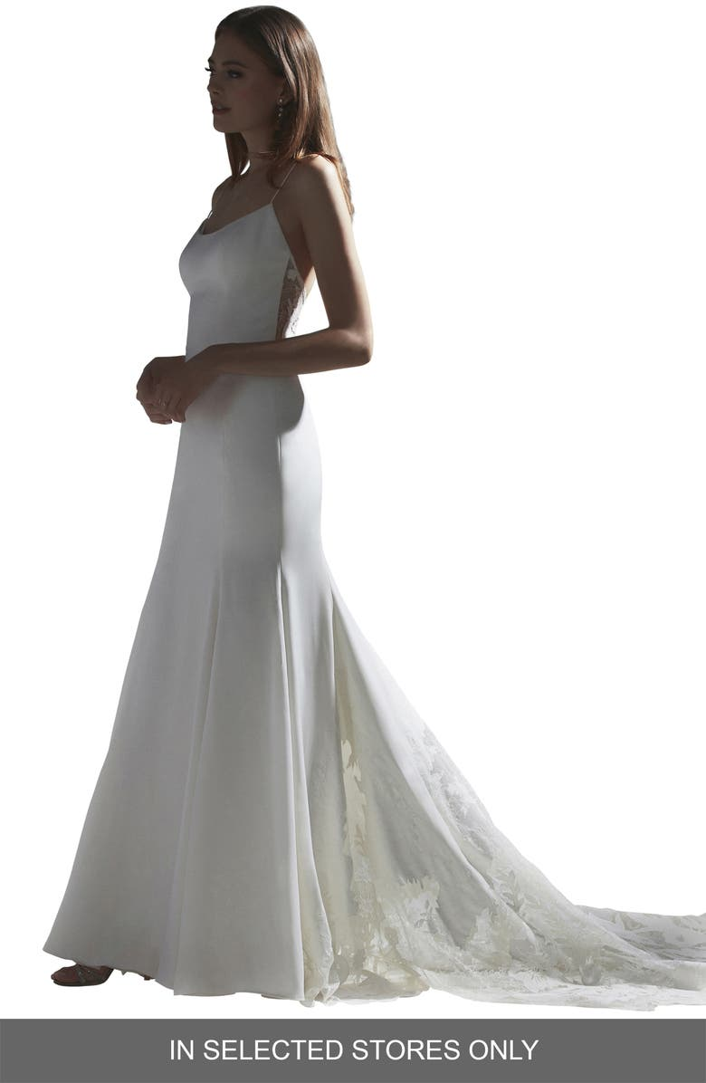 WATTERS Indra Lace Back Silk Trumpet Wedding Dress, Main, color, IVORY