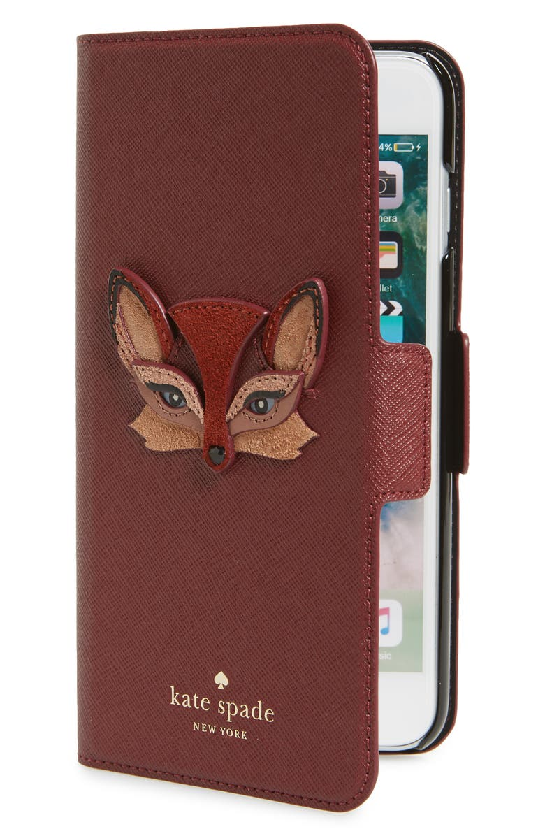 the best attitude 50747 b0b81 kate spade new york fox appliqué iPhone 7/8 & 7/8 Plus folio case ...
