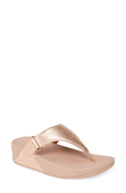 Fitflop Sarna Flip Flop In Rose Gold Leather