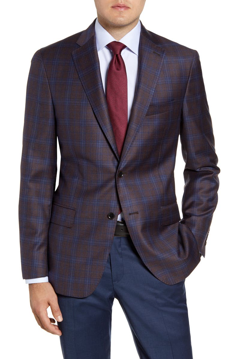 HART SCHAFFNER MARX Classic Fit Plaid Wool Sport Coat, Main, color, 209