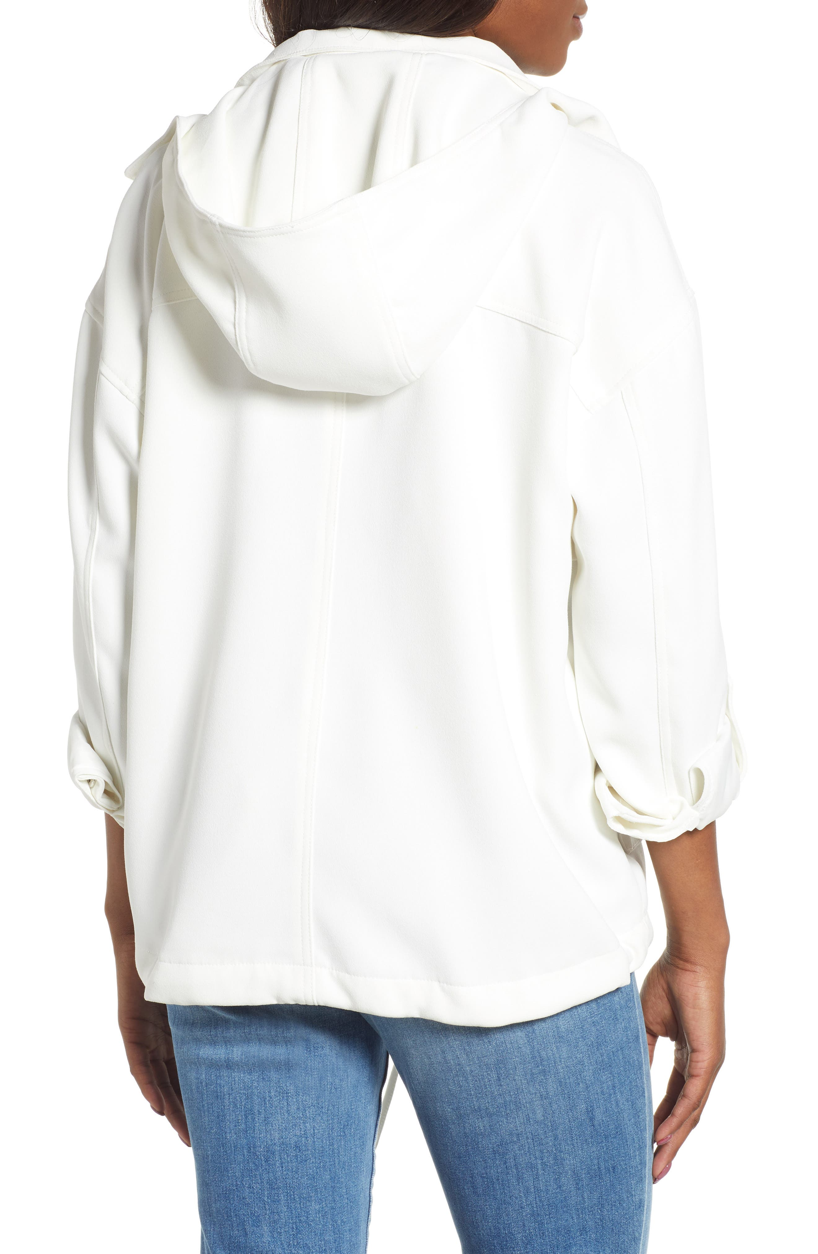 ,                             Crepe Blouson Hooded Jacket,                             Alternate thumbnail 2, color,                             WHITE