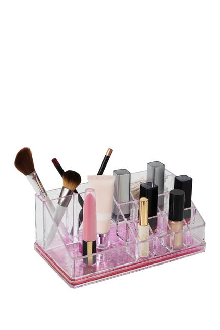 Image of Kennedy International Inc. Simplify Pink 16 Compartment Glitter Cosmetic Organizer