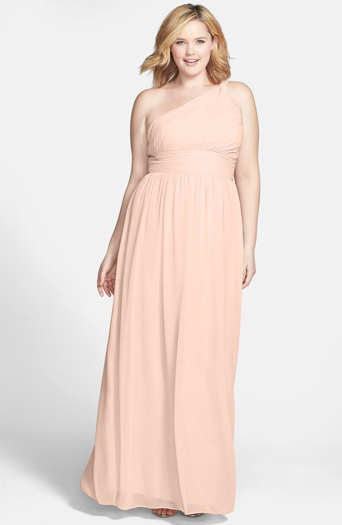 ,                             'Rachel' Ruched One-Shoulder Chiffon Gown,                             Alternate thumbnail 139, color,                             900