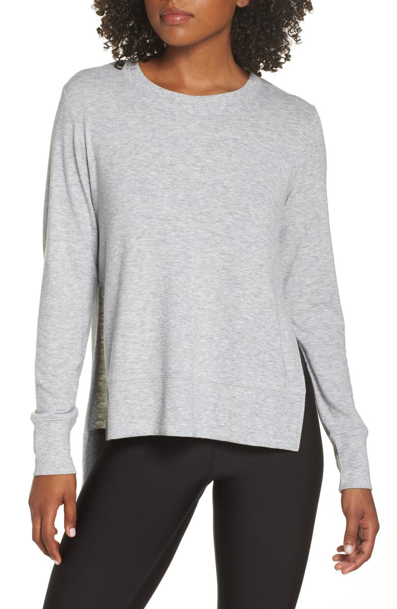 ALO 'Glimpse' Long Sleeve Top, Main, color, DOVEG HTH