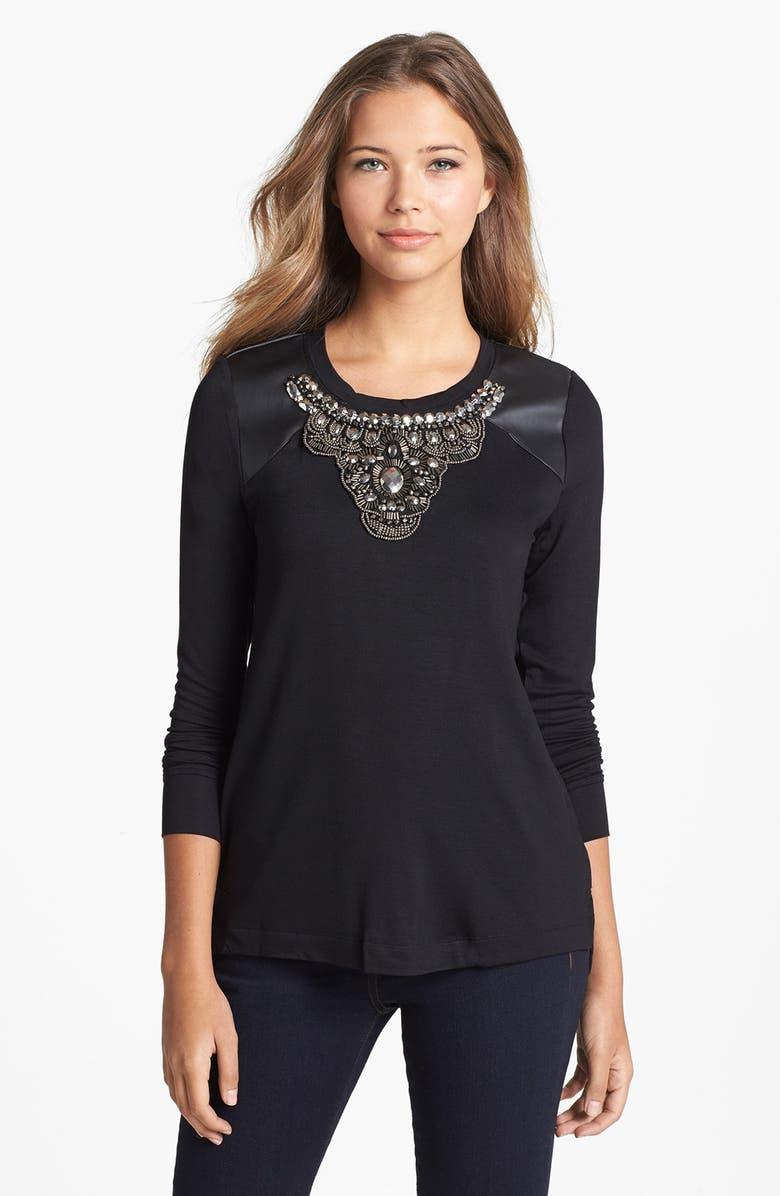 KENSIE Embellished Sweatshirt, Main, color, 001