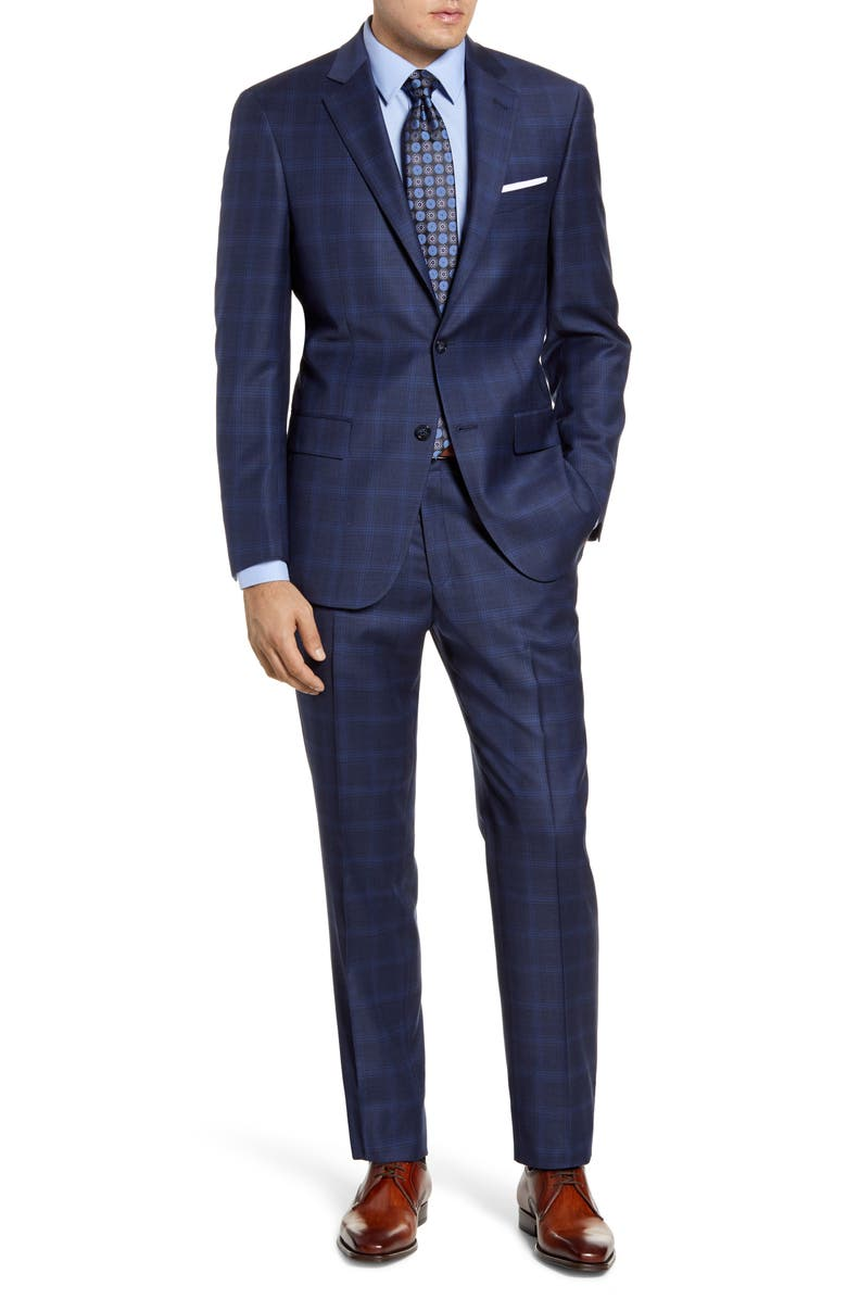 HART SCHAFFNER MARX Classic Fit Stretch Plaid Wool Suit, Main, color, DARK BLUE