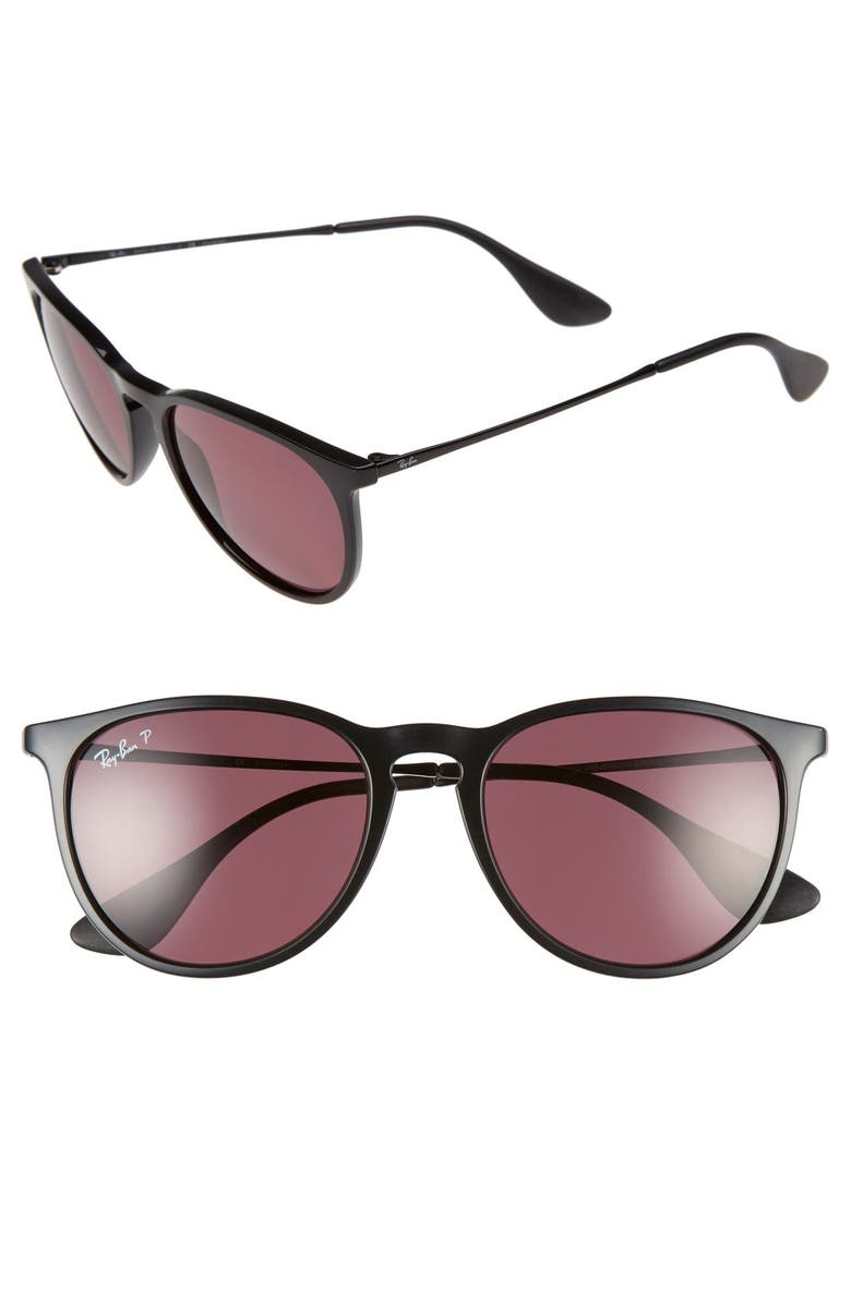 RAY-BAN Erika Classic 54mm Sunglasses, Main, color, BLACK/ PURPLE