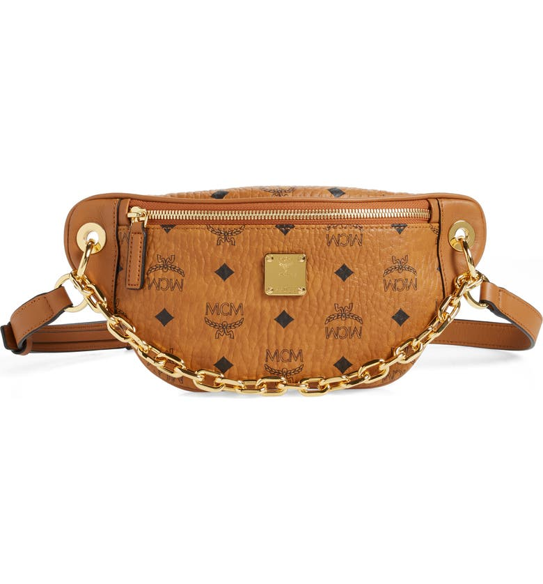 MCM Mini Essential Visetos Coated Canvas Belt Bag, Main, color, COGNAC