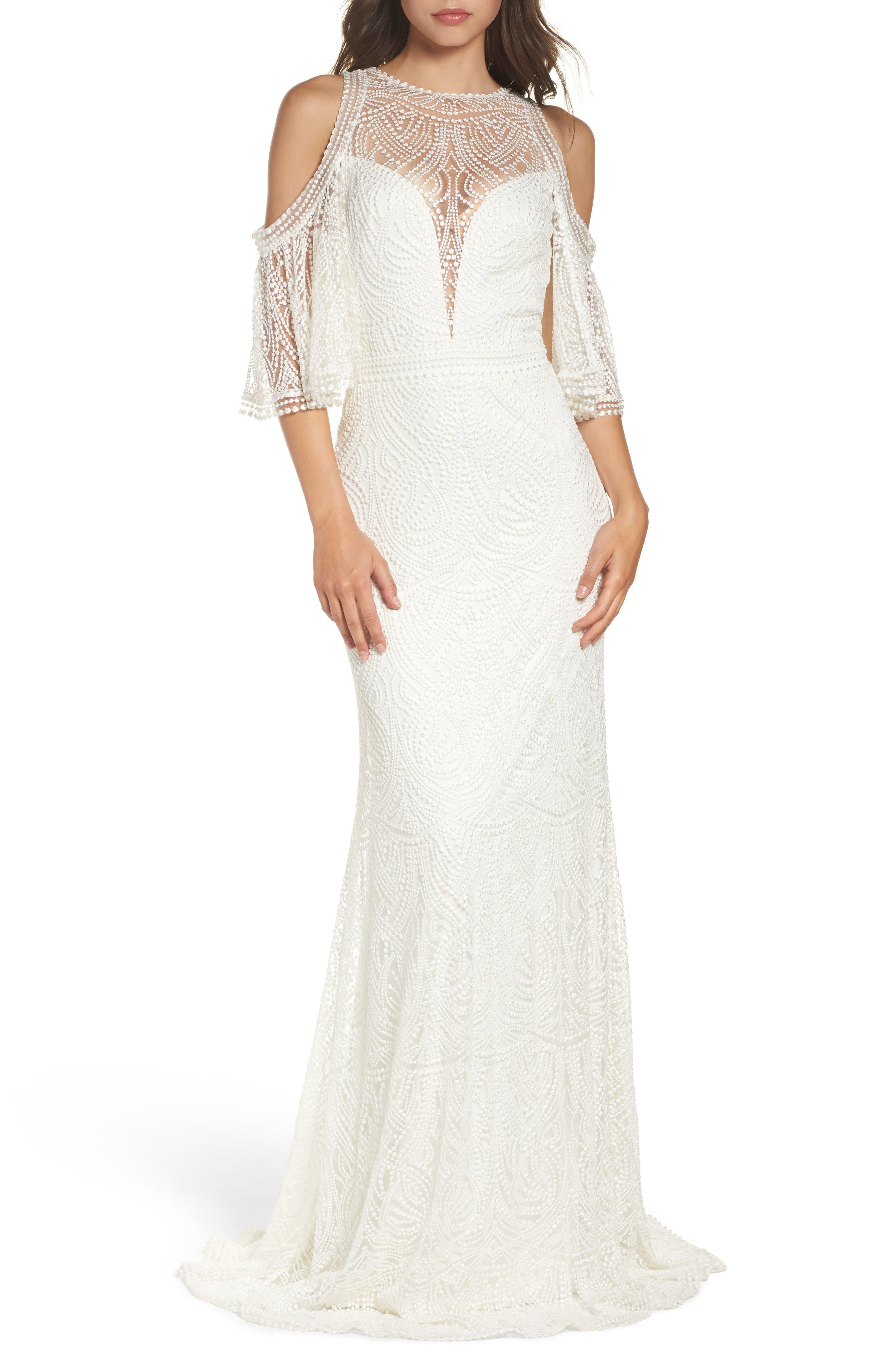 60s Wedding Dresses | 70s Wedding Dresses Womens Tadashi Shoji Embroidered Cold Shoulder Mesh Gown Size 16 - Ivory $798.00 AT vintagedancer.com