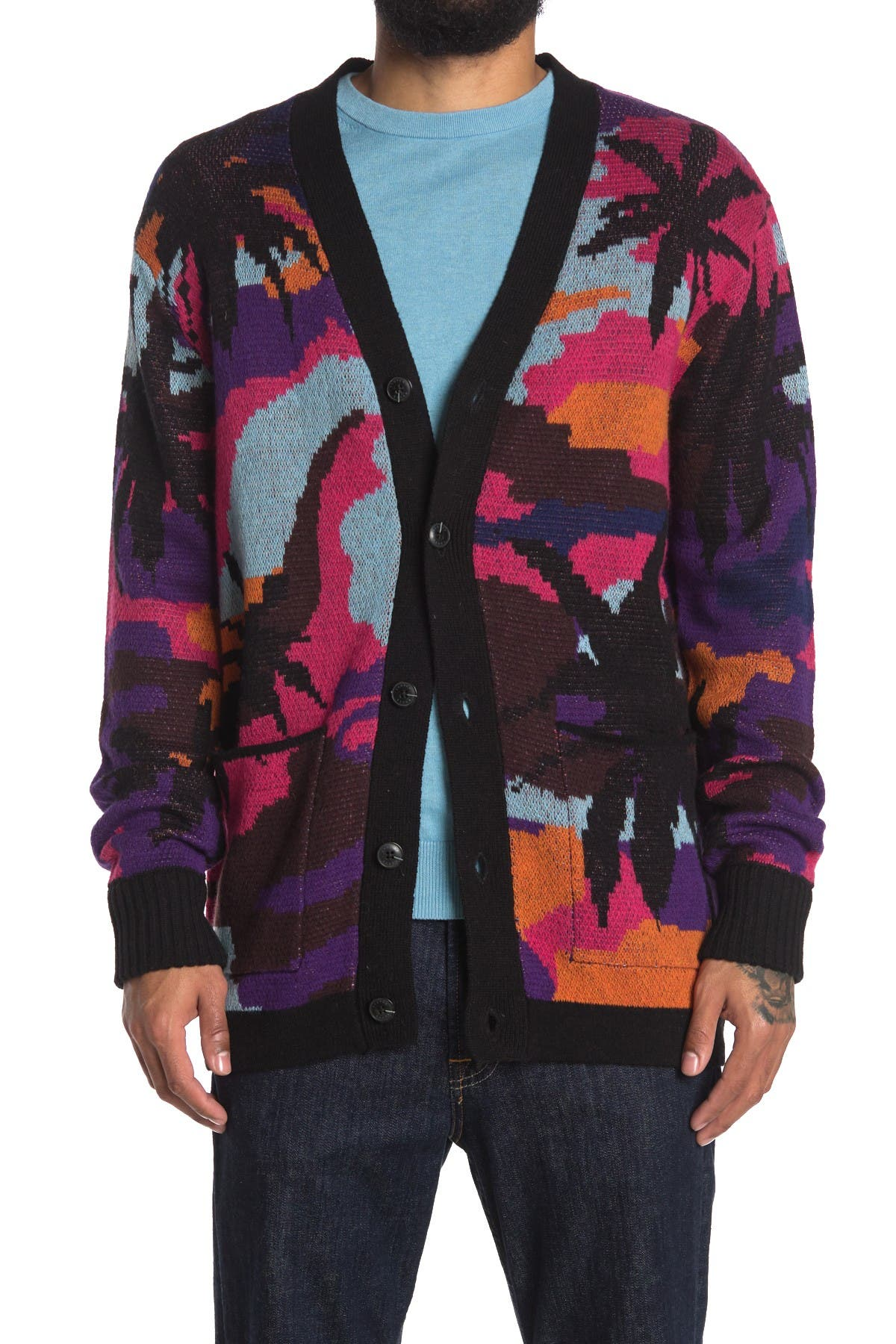 Image of Scotch & Soda Colorful Jacquard Wool Blend Cardigan