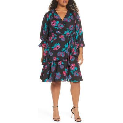 Plus Size Tahari Floral Georgette Faux Wrap Dress, Black