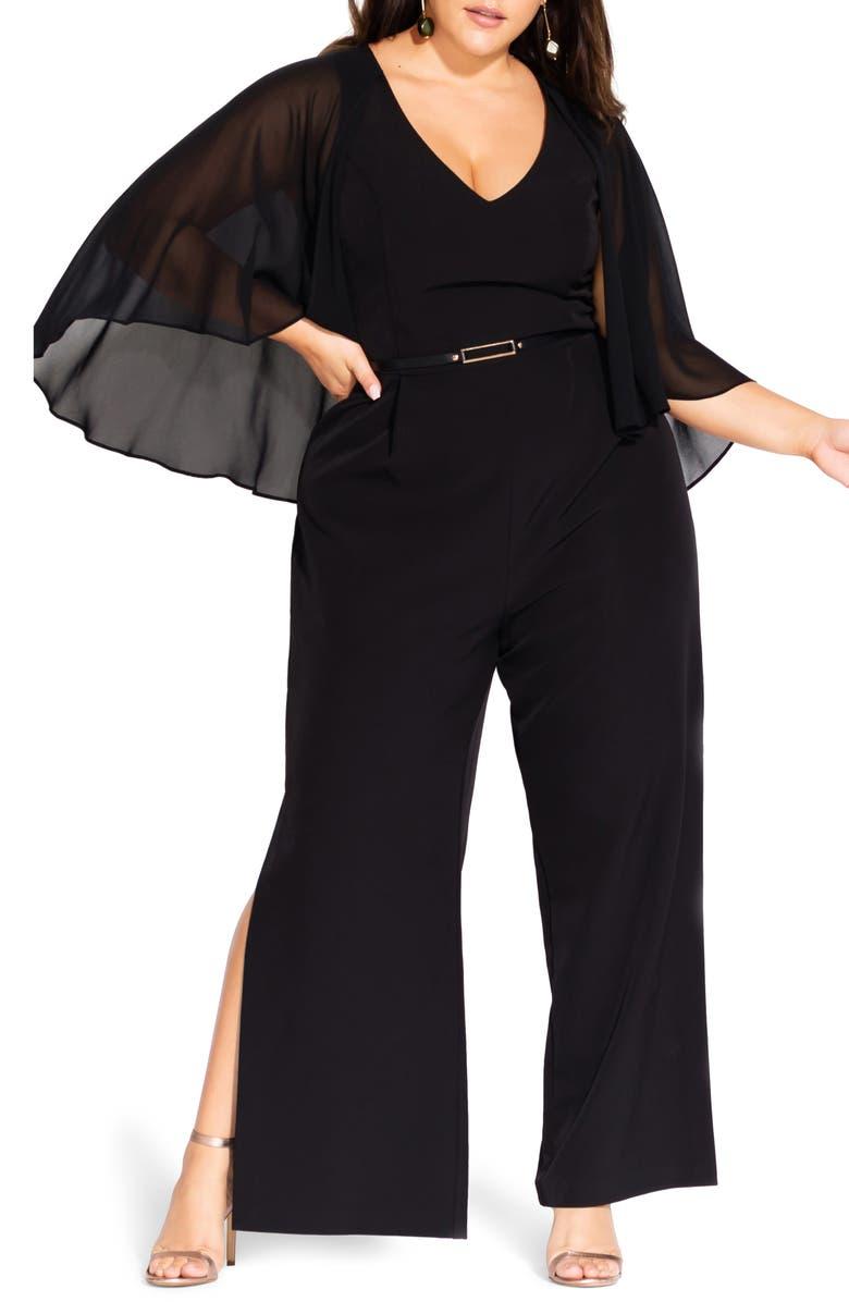 CITY CHIC Slit Leg Jumpsuit, Main, color, BLACK